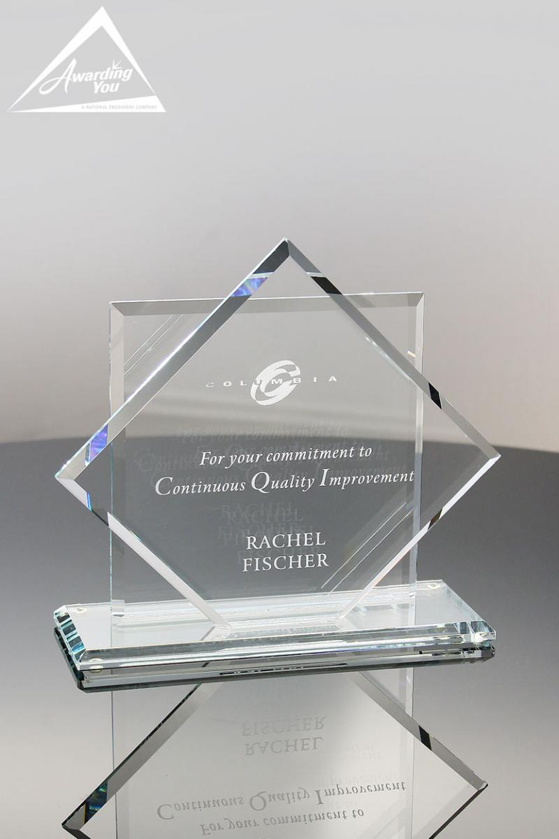 Engraved Glass Awards are popular for wellness recognition