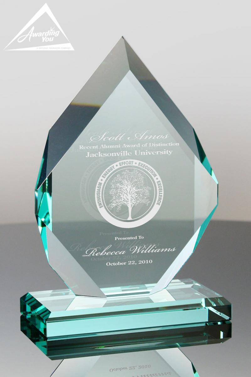 Engraved Glass Awards are popular for safety awards