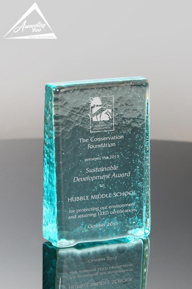Recognize LEED Certification with a recycled glass award