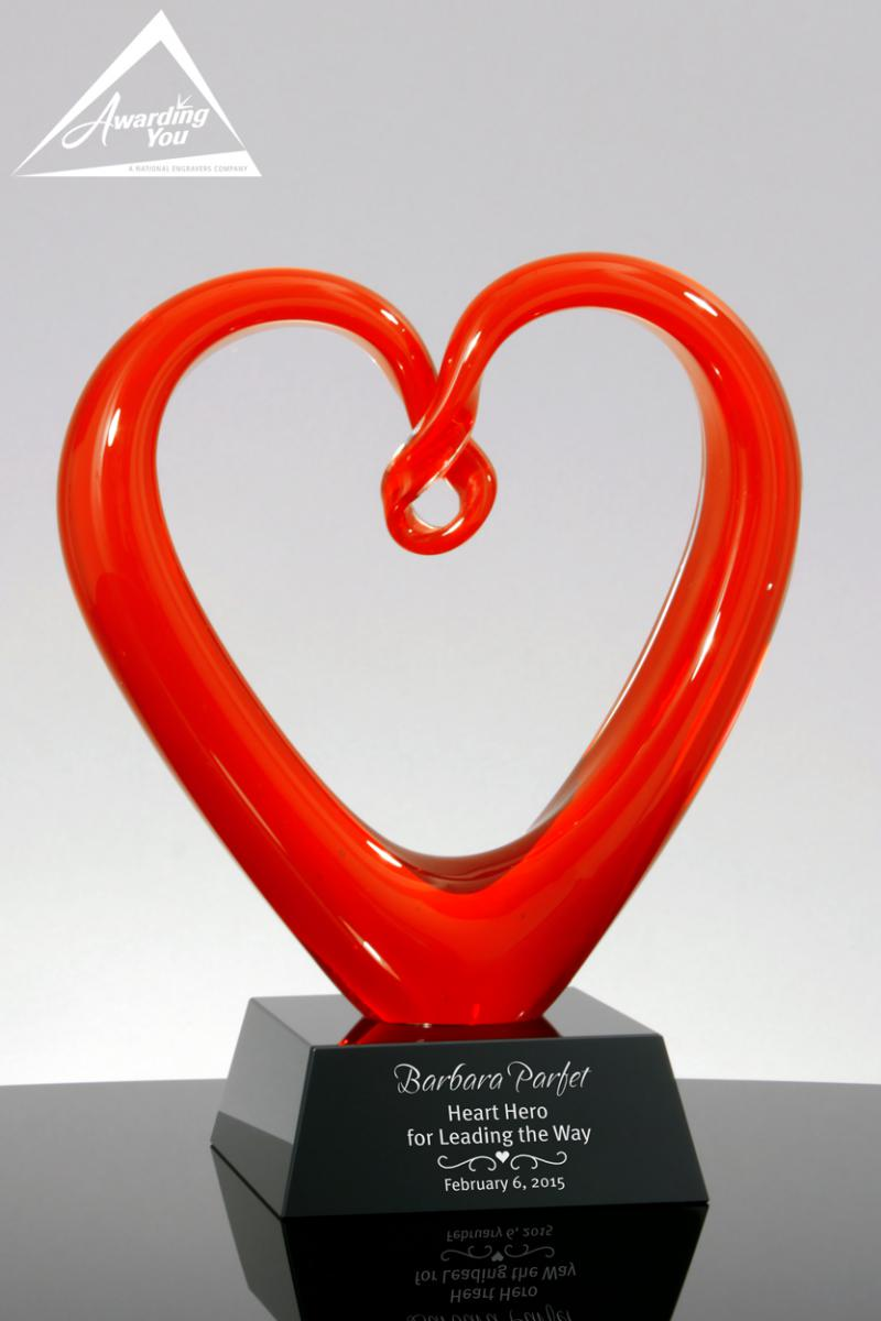 Heart shaped awards are excellent for thank you gifts