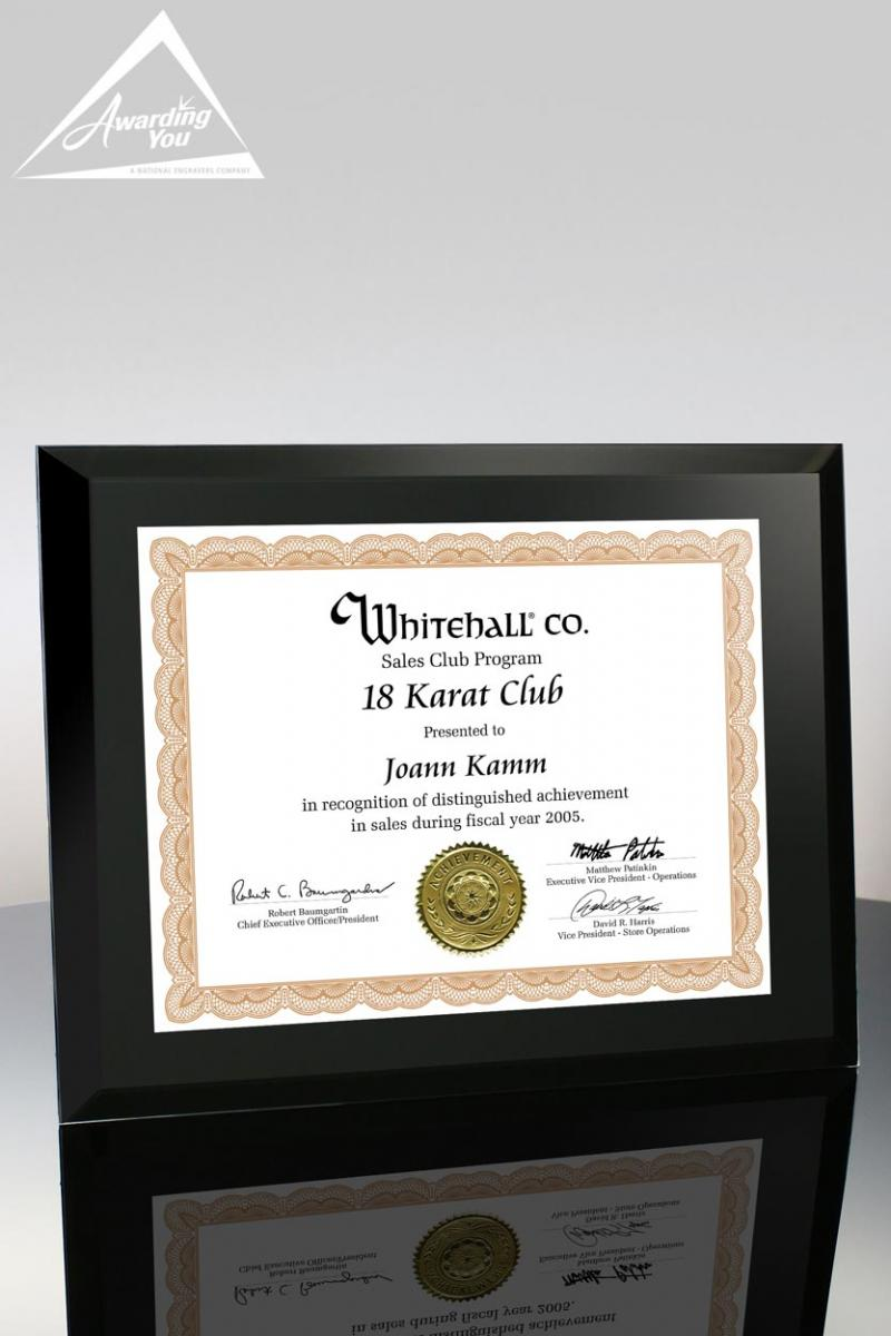 Use this Onyx Glass Certificate Holder for you Attendance Award Programs