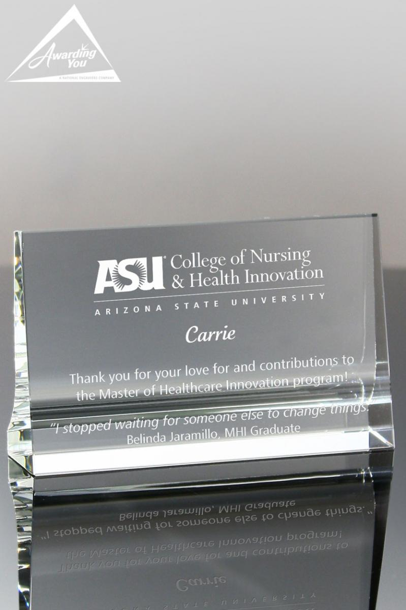 Display pieces such as this Horizontal Tablet Crystal Award are great for members