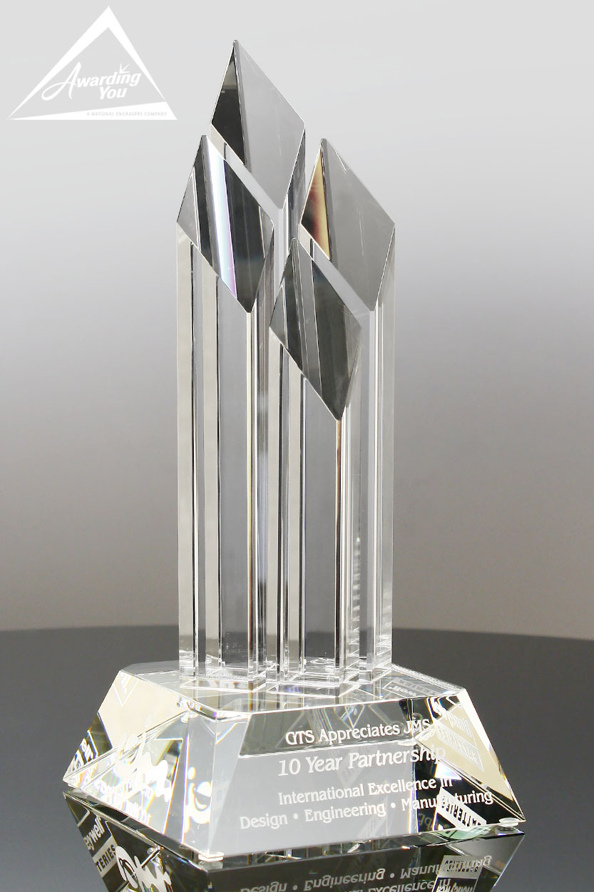 Celebrate your success with this engraved optic crystal trophy