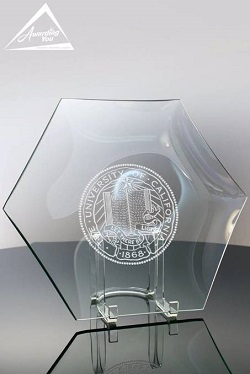 Clear Glass Hexagon Plate Retirement Award