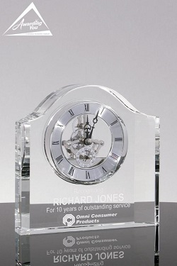 Genoa Crystal Clock Retirement Award